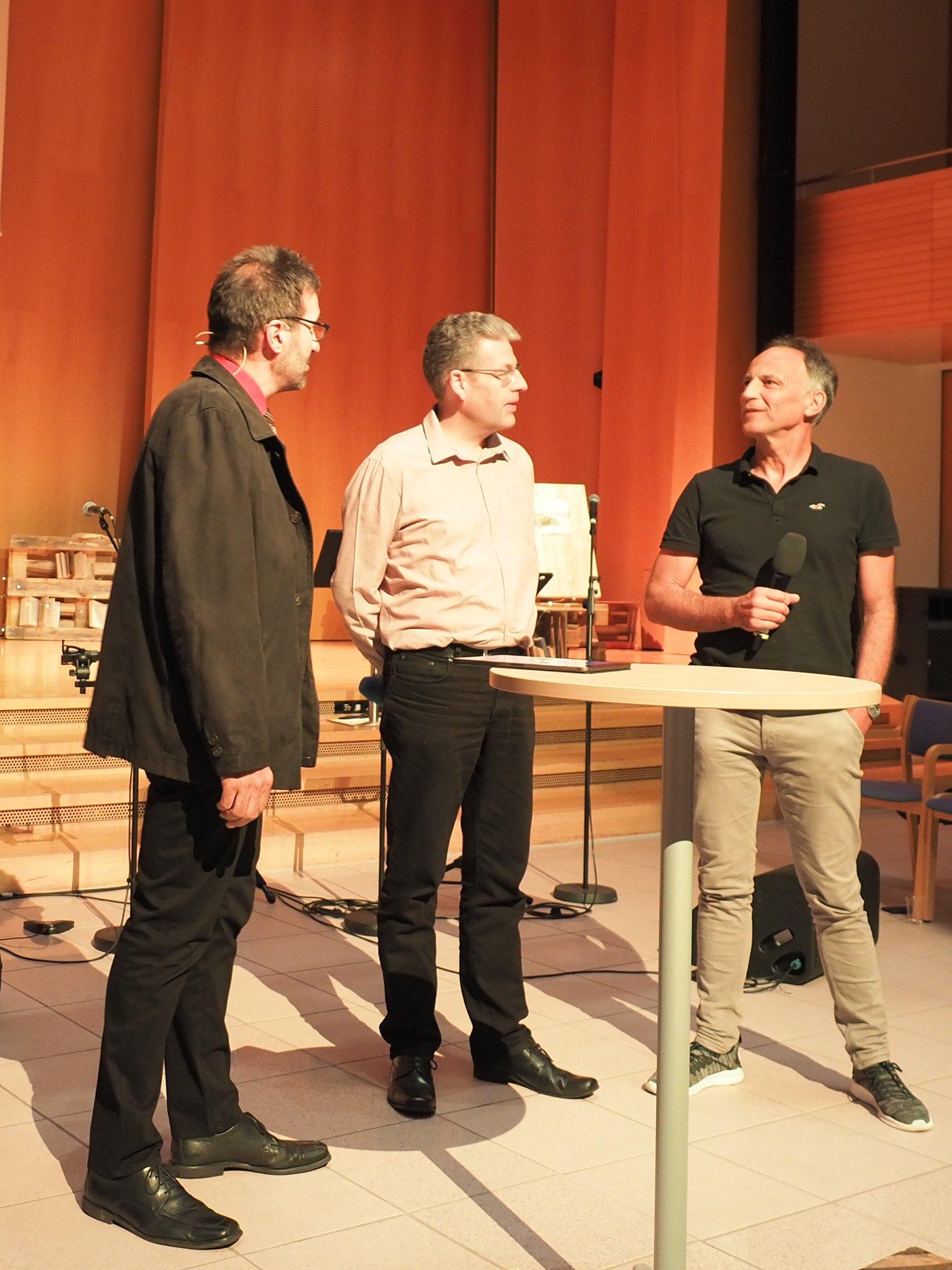 Renê Winkler im Gespräch mit Frank Spatz und Matthias Altwegg.